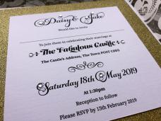etheridge design cannock wedding invitation gold diamanté